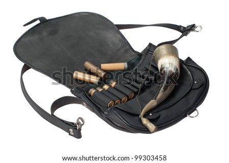 hunting leather bag with ammo and drinking horn isolated on white background