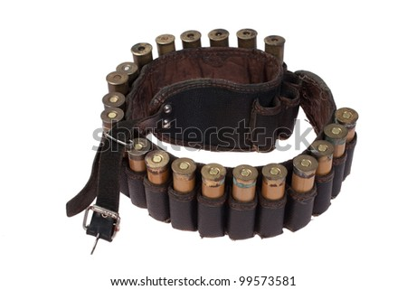 hunting leather bandoleer with ammo isolated on white background