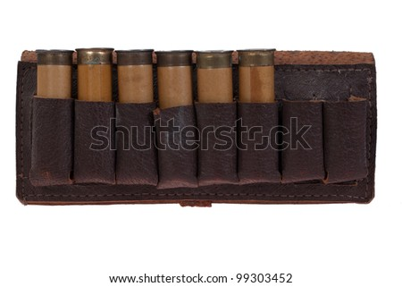 hunting leather bandolier with ammo isolated on white background