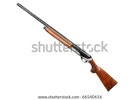 hunting shotgun isolated on white - stock photo