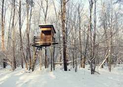 Hunting tower in harsh winter