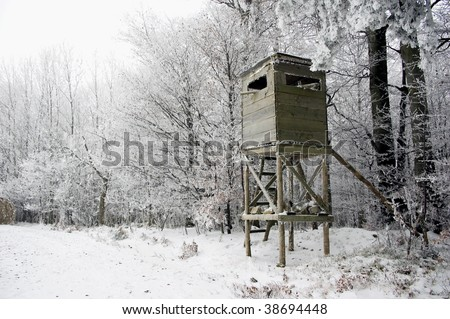 Hunting Tower in Winder Landscape - stock photo