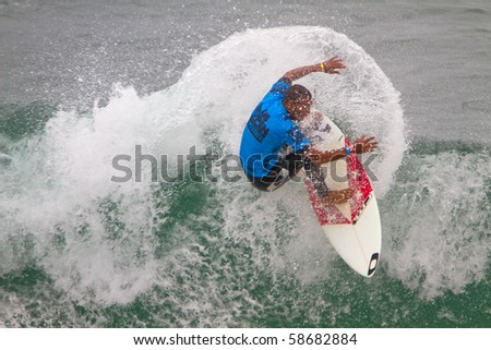 HUNTINGTON BEACH, CA-AUGUST 8: Jadson Andre of Brazil competes in the Men's Quarter Heat Sunday, August 8, 2010 in Huntington Beach. The event ends today with an award's ceremony.