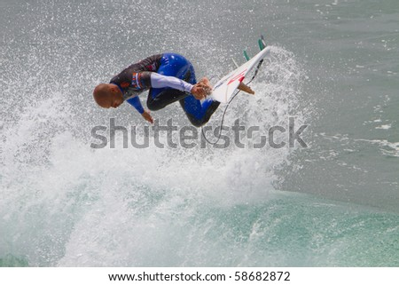 HUNTINGTON BEACH, CA-AUGUST 8: Kelly Slater, World Champion surfer performs in the sponsor demo session for Expression Sunday, August 8, 2010 in Huntington Beach.  The event ends today with an award's ceremony.