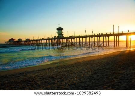 Huntington Beach California Pier at Sunset.