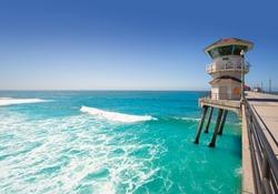 Huntington beach main lifeguard tower Surf City California USA