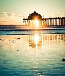 Huntington Beach Pier Sunset Vintage Retro
