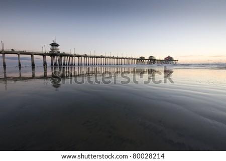 Huntington Beach Wide Angle Sunset Reflections - stock photo