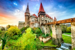 Hunyad Castle. Beautiful panorama of the Corvin's Castle with wooden bridge, Hunedoara, Transylvania, Romania, Europe.