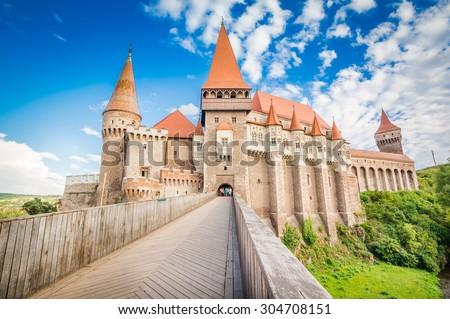 Hunyad Castle / Corvin's Castle in Hunedoara, Romania. Romanian castle landmarks. Front view. #304708151
