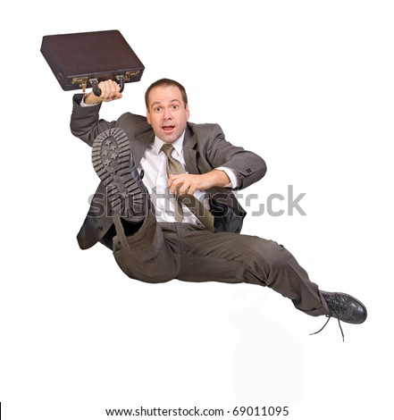 hurdle race businessman with briefcase