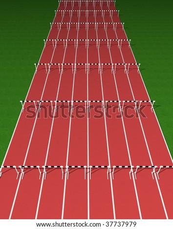 Hurdles track - stock photo