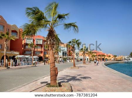 Hurghada, Egypt, January 2017 : embankment of the city of Hurghada Marina #787381204