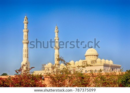 Hurghada, Egypt, January 2017 - The main mosque in the center of Hurghada #787375099
