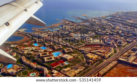 Hurghada under the wing of an airplane