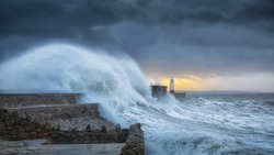 Hurricane Brian hits Porthcawl Colossal waves batter a lighthouse as it suffers hits twice in a week when hurricane Storm Brian lands on the Porthcawl coast of South Wales, UK.