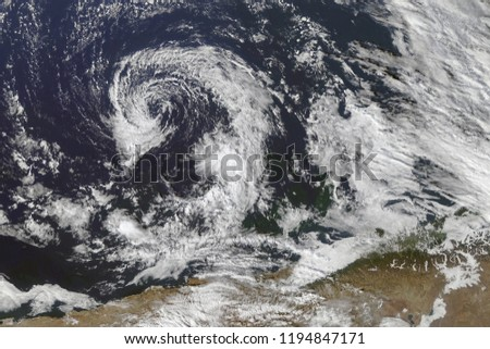 Hurricane from space. Satellite view. Elements of this image furnished by NASA