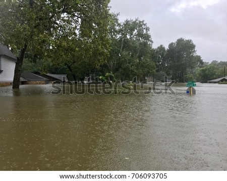Hurricane Harvey 2017, flooding in North Hill Estates off East Cypresswood in Spring Texas, a couple miles north of Houston. #706093705