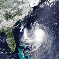 Hurricane Ida is approaching the coast USA. The eye of the  typhoon. Severe tropical storm. Satellite view  Some elements of this image furnished by NASA