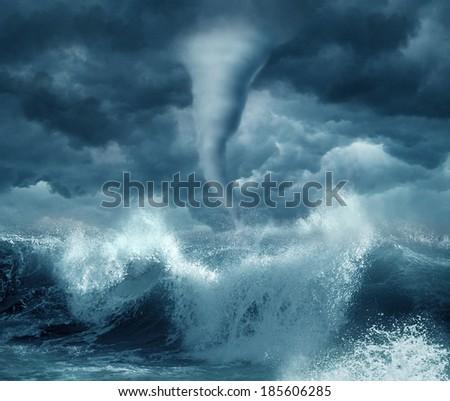 Hurricane in the ocean