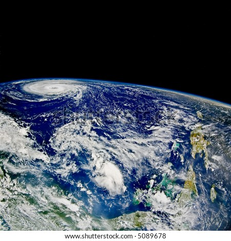 Hurricane over North Atlantic - satellite photo