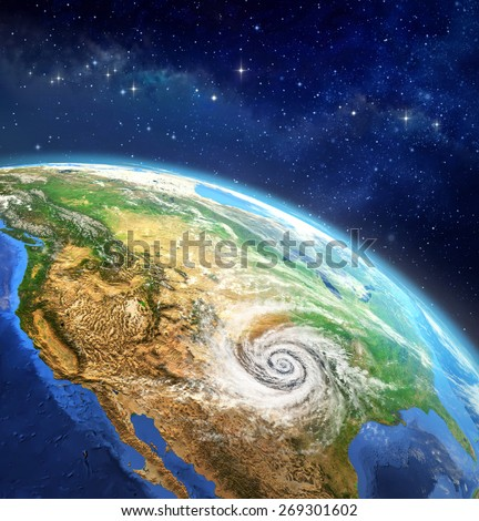 Hurricane over the Earth. Very high definition picture of planet earth in outer space with a cyclone on USA soil. Elements of this image furnished by NASA