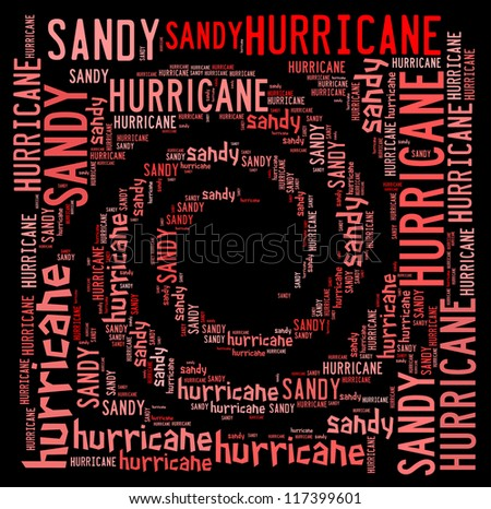 Hurricane swirl in word cloud on black background