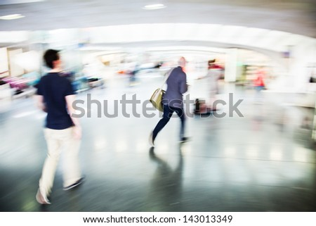 hurried people at a railway station in motion blur #143013349
