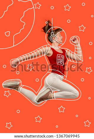 Hurry up to discovering. Dreaming about cosmonaut profession or travel the cosmos. Young woman in drawing imaginary spacesuit against bright red background. Concept of childhood and dreams. #1367069945