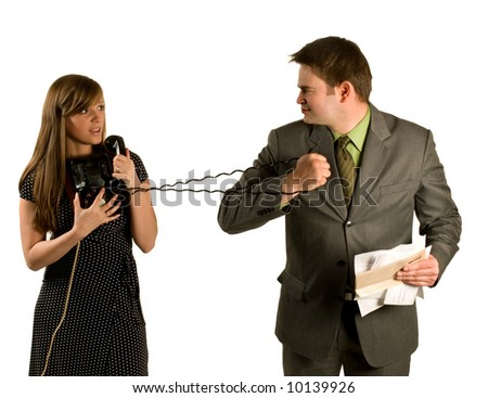 Husband and wife arguing over telephone bills isolated on white