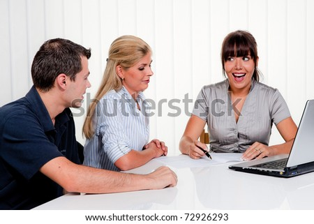 Husband and wife in a consultation in an office