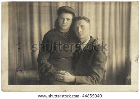 Husband and wife.  USSR, mid XX Century. Isolated on white, with clipping path.