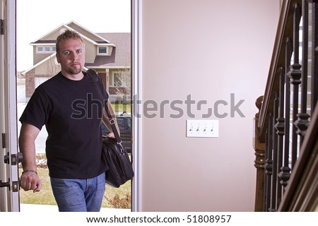 Husband Coming Home from Work Opening the Door