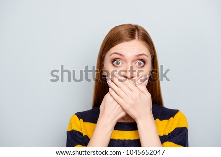 Hush scared business people coughing big pop-eyed fashion concept. Close up portrait of pretty cute terrified frightened mute dumb silent manager model with palms over mouth isolated gray background