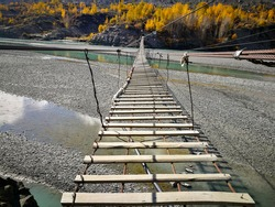 Hussaini suspension bridge, one of the beautiful landmark of Pakistan.