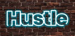 hustle neon design blue light effect