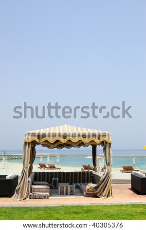 Hut at hotel recreation area, Fujeirah, United Arab Emirates