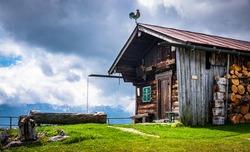 hut at the european alps - photo