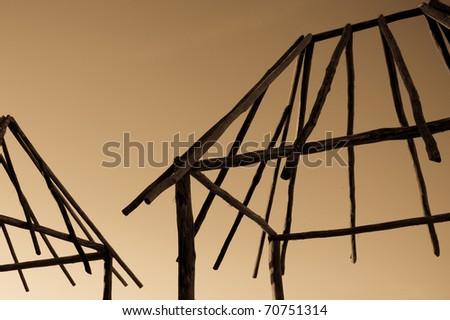 Hut Frames at Sunrise