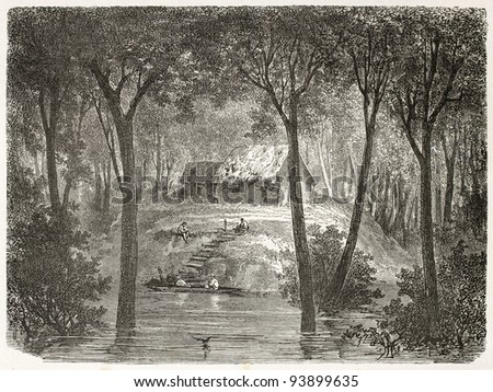Hut in Amazon forest. Created by Riou, published on Le Tour du Monde, Paris, 1867