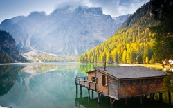 Hut on Braies lake and Dolomiti, Trentino Alto Adige, Italy