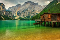 Hut on Braies Lake in Dolomiti mountains and Seekofel in background,Sudtirol,Italy