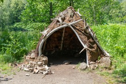 Hut or hovel made of animal skins and bones. Reconstruction of the human home of the Stone Bronze Age.