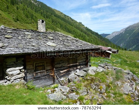 Hut with chimney and shingle roof