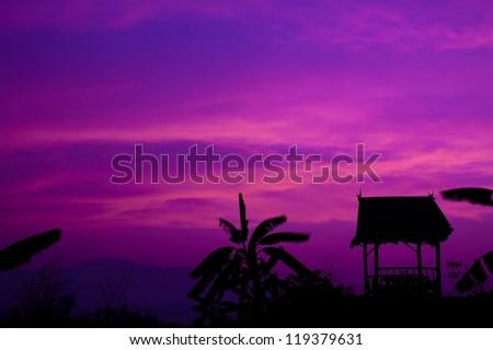 Hut with sunset