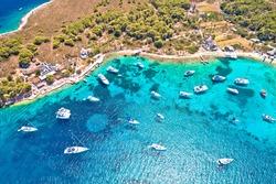 Hvar archipelago sailing turquoise beach aerial view. Island of Marinkovac on Paklenski Otoci islands. Dalmatia region of Croatia