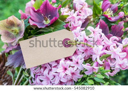 Hyacinths and Helleborus with text space / spring flowers / flowers #545082910