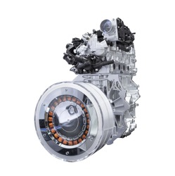 Hybrid car engine isolated on white background with clipping path