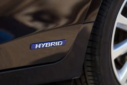 Hybrid sign from Hybrid car