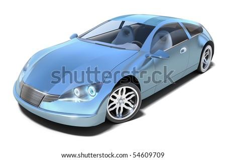 Hybrid sport car. MY OWN DESIGN . 3D image.